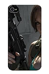 Protective Tpu Case With Fashion Design For Iphone 4/4s ( Lara Croft Cosplay Tomb Raider Jenncroftcosplaycom Weapons Guns Assault Rifles Women Brunee Model Sexy Babes )