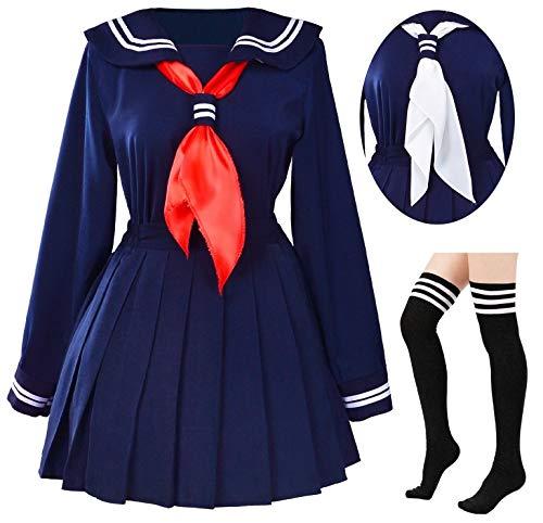 Classic Japanese School Girls Sailor Dress Shirts Uniform Anime Cosplay Costumes with Socks Set(Navy)(S = Asia M)(SSF07NV) ()