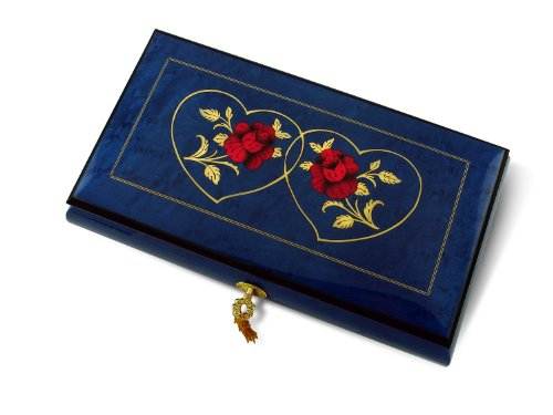 Vibrant Royal Blue Double Red Rose and Heart Musical Jewelry Box with 18 Note Tune-My Kind of Women, My Kind of Man - SWISS