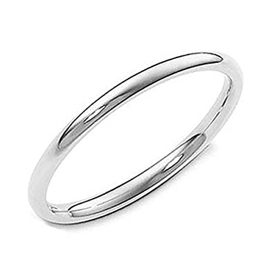 Sterling Silver 2MM High Polish Plain Dome Tarnish Resistant Comfort Fit Wedding Band Ring