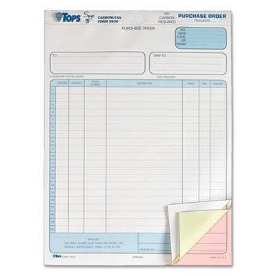 UPC 025932383007, TOPS 3830 Snap-Off Carbonless Purchase Order Triplicate Sets, 8-1/2X11, 50 Sets/Pk