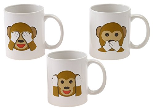 Emoji Universe: See No Evil Monkey Emoji Coffee Cups, (Set of 3); Choice of Style of Coffee Mugs