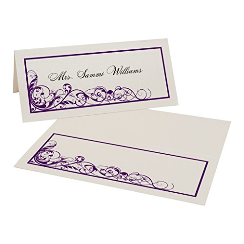 Scribble Vintage Swirl Place Cards, Champagne, Eggplant, Set of 375 by Documents and Designs