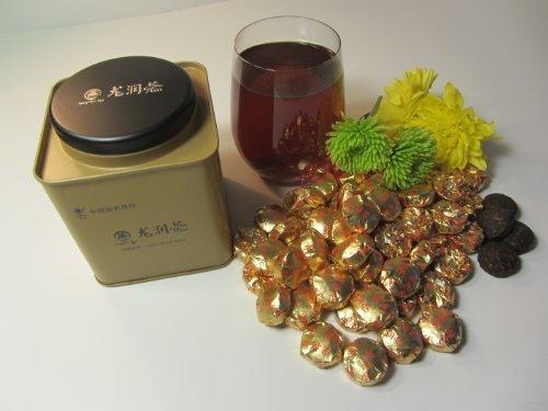 (Chrysanthemum Slender Pu-erh Mini Tuo Cha (Fermented, Year 2012) 150g/tin by Yunnan Longrun Tea with Chrysanthemum)