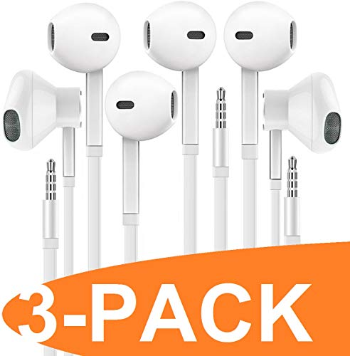 Revlone Earbud Headphones - Microphone and Call Controller - Compatible with Phone, Android and Blackberry - 57-CFL7Z7F - In-Ear - White - 3 Pack