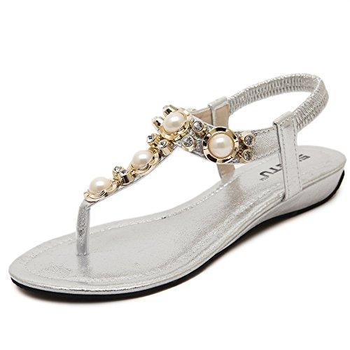 Beach Women's D2C Thong Beauty Sandals Sliver Stylish Beads Bohemia Flat 5HqYFwaq