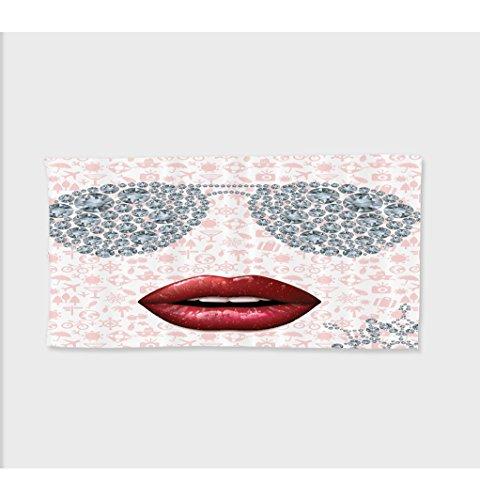 Sophie 27.5W x 11.8L Inches Custom Cotton Microfiber Ultra Soft Hand Towel Rhinestones Diamond Sun Glasses -Inch- --Inch Polyster Ba Pink_???