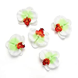 Fake flower heads in Bulk Wholesale for Crafts Outdoor Fashion Orchid Artificial Flowers DIY Butterfly Orchid Cloth Fake Flowers Bouquet Party Wedding Decoration Artificial Flowers 30pcs 6.5cm 4