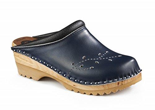 Troentorp Women's Båstad O'Keefe Leather Clog Navy Blue