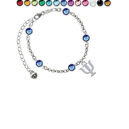 Custom Greek Letters - Large Greek Letter - Psi - Custom Crystal Color Fiona Charm Bracelet
