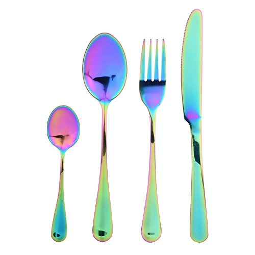 T-best Cutlery,4pcs Outdoor Colorful Stainless Steel Cutlery Tableware Dinnerset for Camping