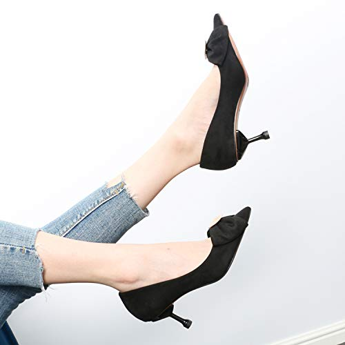 Cat women's Suede Butterfly High Shoes gules GTVERNH Heel Sharp And Thin shoes Sexy Pointed Women Wild Shoe Single And 7Cm Mouth Fashion Summer Knot Shallow Y545W7q