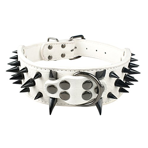 Beirui Sharp Spiked Studded Dog Collar - Stylish Leather Dog Collars - 2 Inch in Width Fit for Medium & Large Dogs - Such as Pitbull Mastiff - Black Rivets & White Leather,15-18