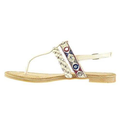 Angkorly - Scarpe da Moda sandali infradito donna ricamo intrecciato multi-briglia Tacco a blocco 1.5 CM - Beige
