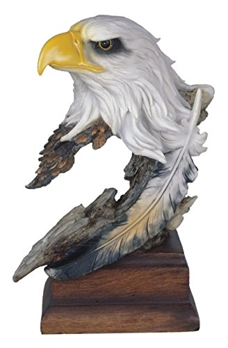 StealStreet SS-G-54153 Bald Eagle Head & Bust Statue with Feather on Wood Base, 12