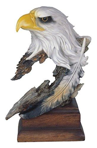 StealStreet SS-G-54153 Bald Eagle Head & Bust Statue with Feather on Wood Base, - Head Figurine Eagle