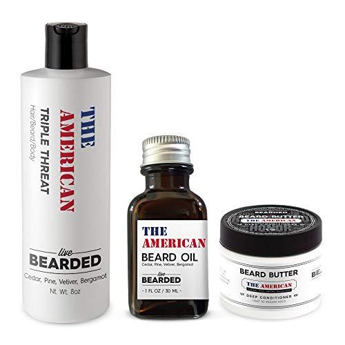 Live Bearded Beard Kit - True Beardsman Cleans, Conditions, And Shapes Your Beard Pine, Cedar, Vetiver, Bergamont Beard Kit