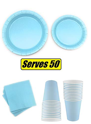 Serves 50 | Complete Party Pack | Light Blue | 9