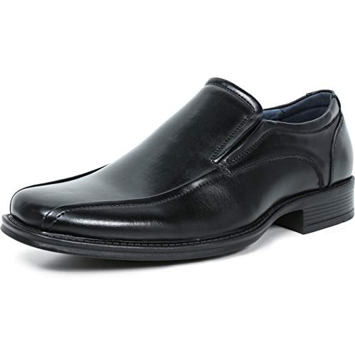 ZRIANG Men's Dress Loafers Formal Leather Lined Slip-on Shoes (10 M US,Black2)