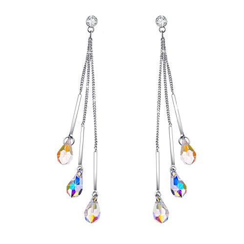 (EleShow 925 Silver Drop Earrings for Women Dangle Earrings Color Changing Teardrop Earrings Made with Aurora Borealis Swarovski Crystals (B_Three-Stone Earrings))