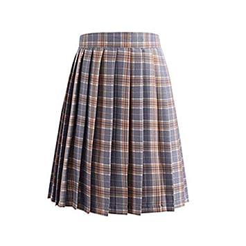 HEHEAB Falda,Plaid Gris De Cintura Alta Mini Faldas Plisada Falda ...