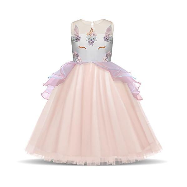 TTYAOVO Unicorn Dress for Girls Kids Teens Fancy Party Costume 2-14 Years 3