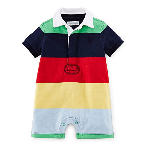 Ralph Lauren Cotton Jersey Rugby Multicolored Shortall for Baby Boys, 3 Months (Mesh Rugby Cotton)