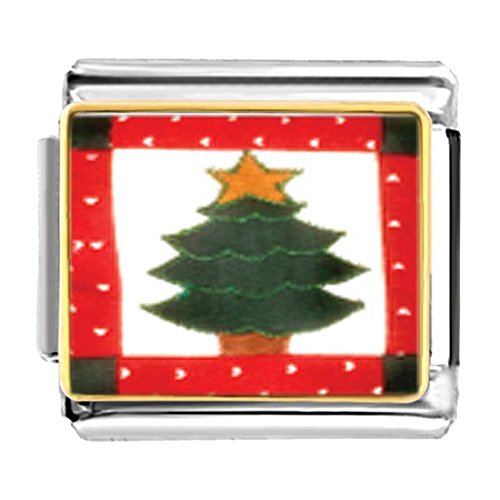 GiftJewelryShop Gold Plated Christmas Tree Quilt Square Bracelet Link Photo Italian Charms