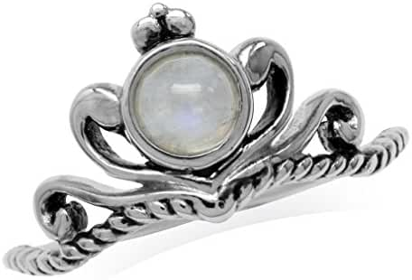 Natural Moonstone White Gold Plated 925 Sterling Silver Victorian Style Crown Rope Ring