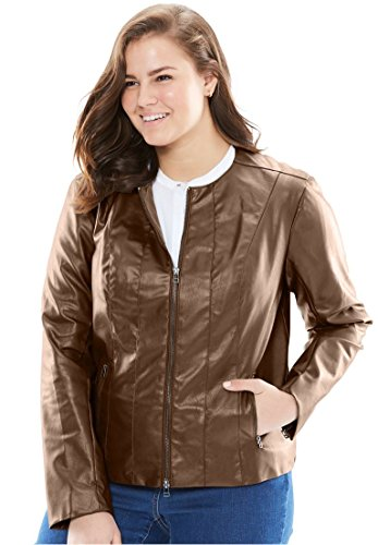Woman Within Women's Plus Size Faux Leather Jacket Chestnut,18 W
