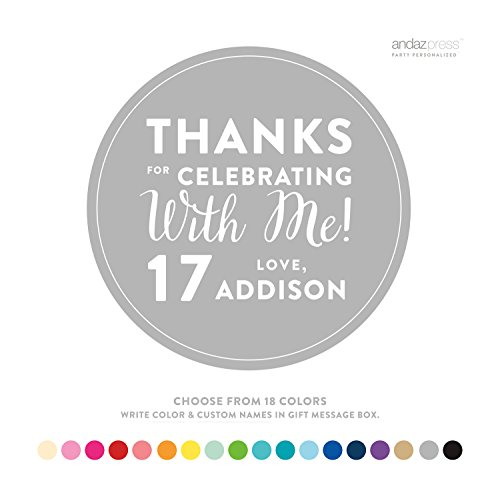 Andaz Press Personalized Circle Labels, Birthday, Thanks for Celebrating With Me, 40-Pack - CUSTOM MADE ANY NAME, COLOR, (Custom Favor Bags)