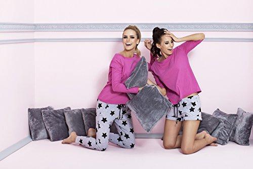 Pigeon Lingerie - Pijama de algodón, ropa de andar por casa, superior y fina, pantalones largos, en gran caja de regalo morado