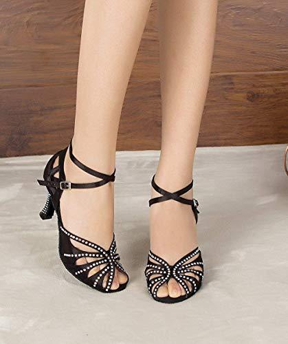 eu37 Chaussures Jazz Hhgold Salsa Sandales tango Pour coloré Latine De chacha Hauts Taille samba Danse Sexy chaussures Femmes 5cm Uk5 À our38 modernes Talons Black7 gOrwdOq