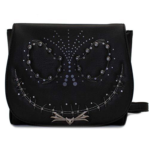Loungefly x Nightmare Before Christmas Jack Studded Flap Crossbody Bag (One Size, Black) -