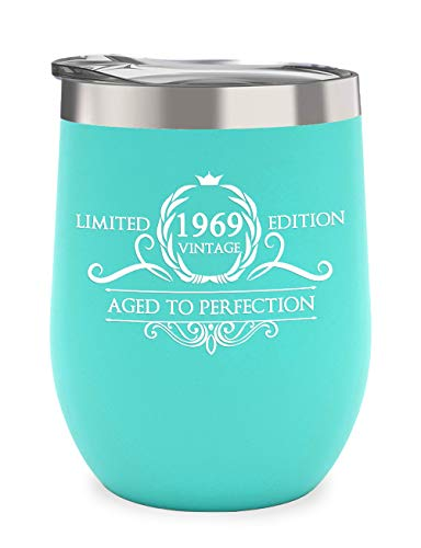 1969 50th Birthday Gifts for Women and Men - Vintage Anniversary Gift Ideas Party Decorations for Mom, Dad, Husband or Wife - 12 oz Stainless Steel Wine Glass Tumbler with Lid