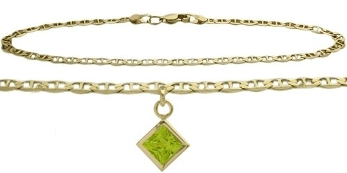 14K Yellow Gold 10 Inch Mariner Anklet with Genuine Peridot Square Charm -
