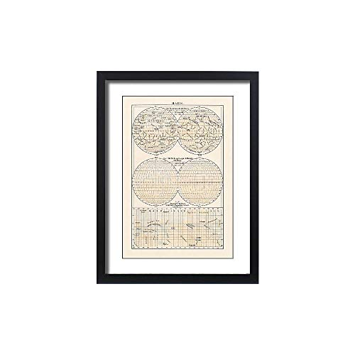 (Media Storehouse Framed 24x18 Print of Historical map of Planet Mars, Lithograph, published in 1897 (18106993))
