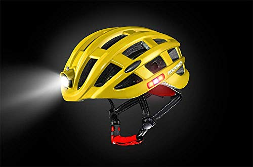 Lxhff Motorcycle Helmet with The Bicycle Warning Light Emitting Insect Mountain Road Men Riding Breathable Helm,Yellow (Color : White) from Lxhff
