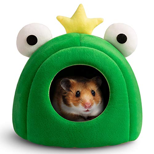 Hollypet Warm Small Pet Animals Bed Dutch Pig Hamster Cotton Nest Hedgehog Rat Chinchilla Guinea Habitat Mini House, Green Frog