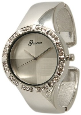 460 Womens Geneva Silver Cuff Bangle Watch w/ Rhinestones