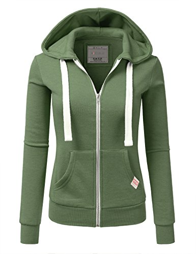 Doublju Lightweight Thin Zip-up Hoodie Jacket for Women with Plus Size KellyGreen Large