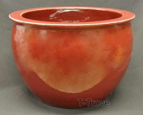 Ox Blood Colored Fish Bowl by T-Trove