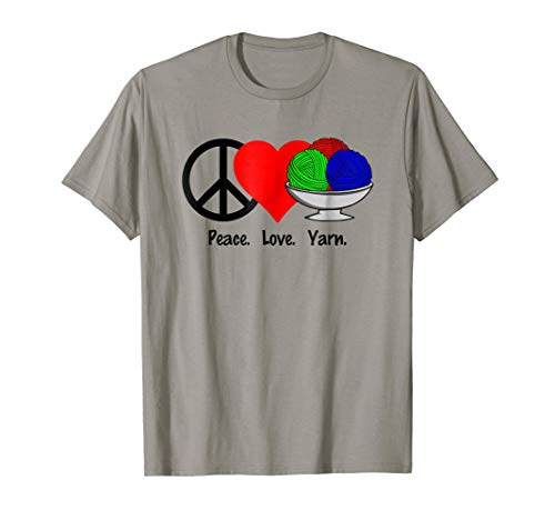 Peace Love Yarn T-Shirt Shirt Tee - Knit Crochet Ball Skein ()