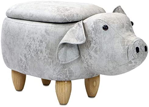 Critter Sitters 15″ Seat Height Light Gray Pig Storage Ottoman