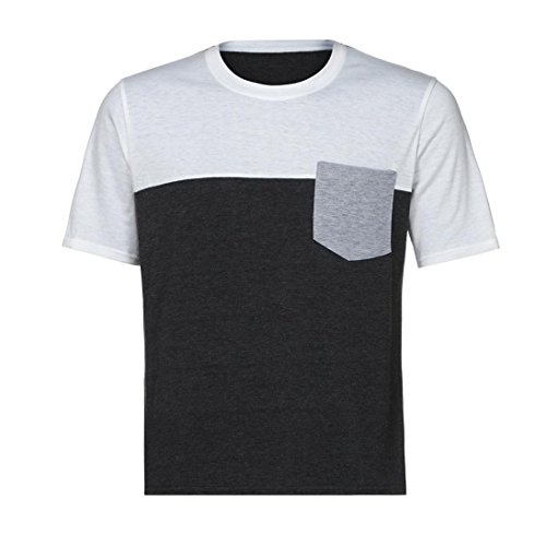 Teresamoon Big Promotion Men Muscle T-Shirt Slim Fit Patchwork Blouse with Pocket (White, XL)