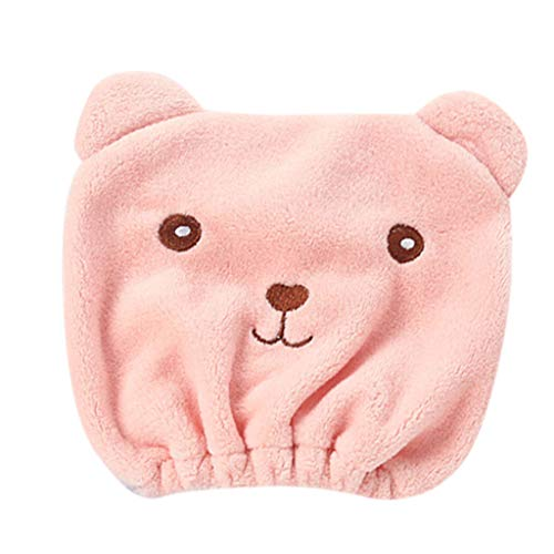 (Animal Dry Hair Cap Women's Sports Headband Thickening Absorbent Shower Hat Pink)