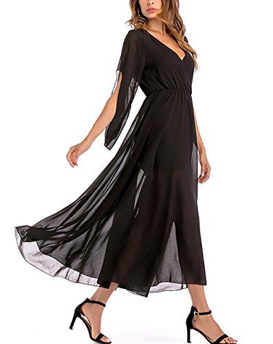 ... Chiffonkleid Damen Elegant Festlich Sommerkleider Kleid Lang  V-Ausschnitt 50Er Jahre Kleider A-Linie ... 8809b223a0