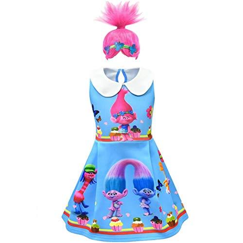 Bubble Puppy Halloween Costume (Girls Poppy Dress Troll Wig Set for Halloween Party Trolls Cosplay Costume Sky)