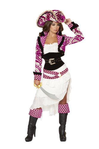 Roma Costume Women's 5 piece Precious Pirate, White/Pink, Large (Female Pirate Jacket)