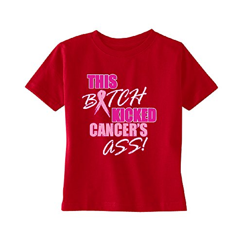 This Kicked Cancers A Toddler T-shirt Breast Cancer Month Kids Red 5T - Kicked Breast